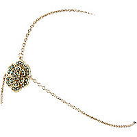 Gold tone flower hair chain
