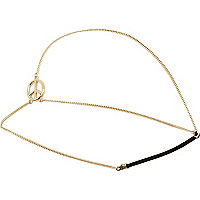 Gold tone peace hair chain