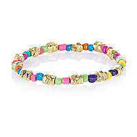 Multicoloured skull bead stretch bracelet