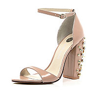 Pink chunky spike heel barely there sandals