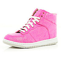 Pink glitter metallic mid top trainers