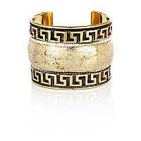 Gold tone tribal detail cuff