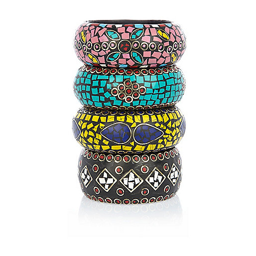 Multicolored mosaic chunky bangles