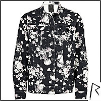 Black floral Rihanna oversized denim jacket