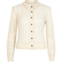Cream Victoriana lace shirt