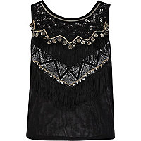 Black mesh fringe embellished top