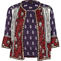 Purple colour block print shacket