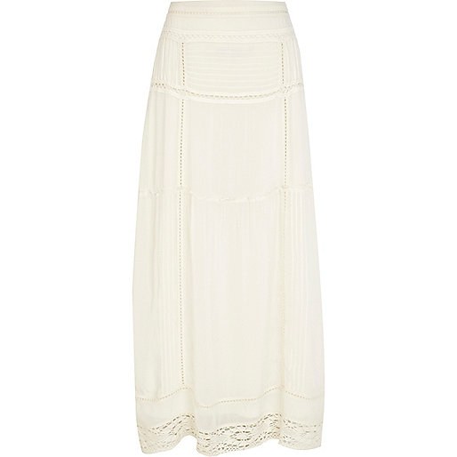 Cream crochet hem maxi skirt