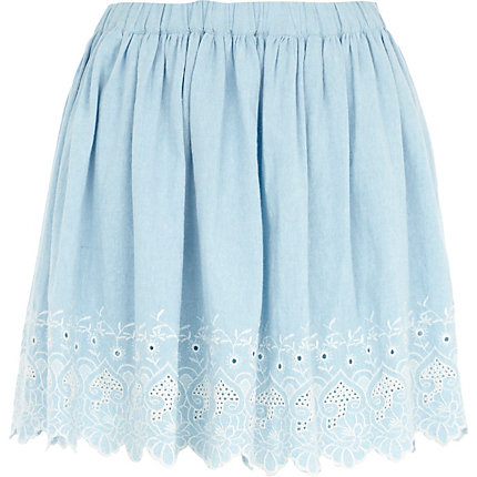Blue chambray embroidered hem skater skirt