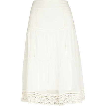 Cream crochet hem midi skirt