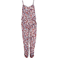 Red paisley print casual cami jumpsuit