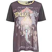 Black Bombay diamante elephant print t-shirt