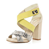 Yellow cross over strap block heel sandals