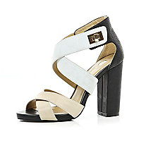 Black cross over strap block heel sandals