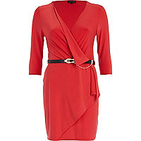 Red wrap front belted dress