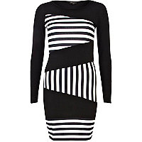 Black and white stripe panel bodycon dress