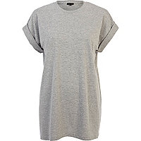 Grey oversized longline boyfriend t-shirt