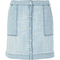 Light wash button through denim skirt