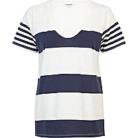 Navy placement stripe low scoop neck t-shirt