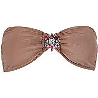 Brown Pacha jewel bandeau bikini top