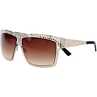 Gold tone filigree visor sunglasses