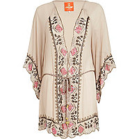 Light brown Pacha bead embellished kimono