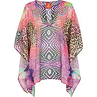 Pink Pacha mixed animal print kaftan