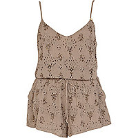 Light brown broderie cami playsuit
