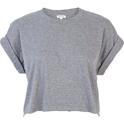 Grey short sleeve boxy cropped t-shirt