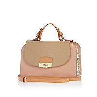 Pink contrast panel structured satchel bag