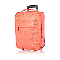 Bright coral laser cut wheelie suitcase
