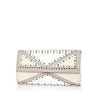 Grey colour block studded clutch bag