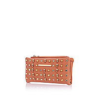 Coral multi skull studded purse