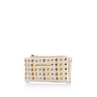 Cream multi skull studded purse