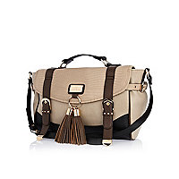 Brown colour block tassel satchel