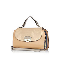 Beige contrast panel structured satchel bag