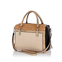 Beige colour block bowler bag