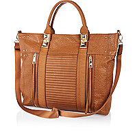 Brown tumbled contrast panel tote bag