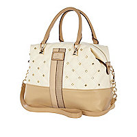 Cream quilted stud bowler bag