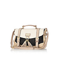 Beige colour block tassel satchel