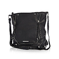 Black double zipped messenger bag