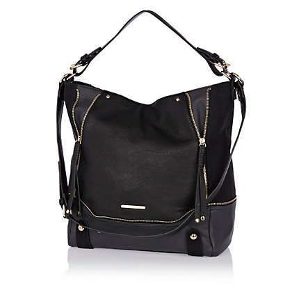Black two-tone zip slouch bag