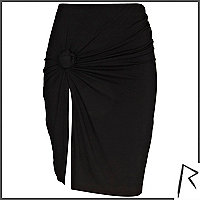 Black Rihanna knot front thigh split skirt