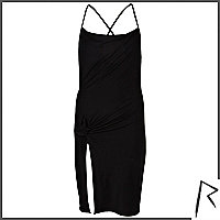 Black Rihanna knot front cami dress