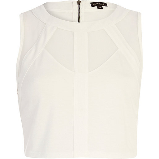 White mesh panel sleeveless crop top