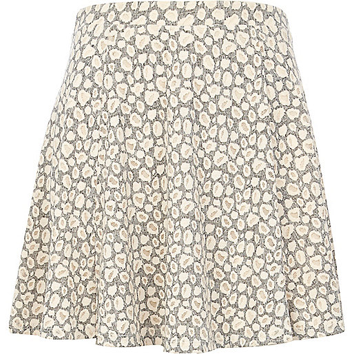 Grey burnout animal print skater skirt