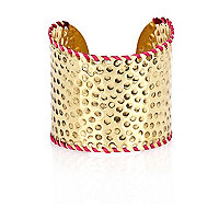 Gold tone hammered metal trim cuff