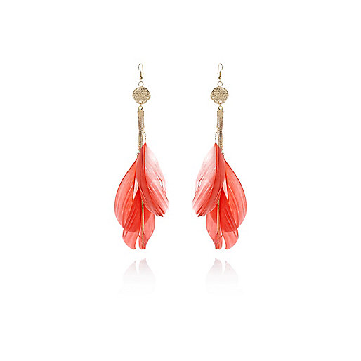 Coral feather hammered coin earrings