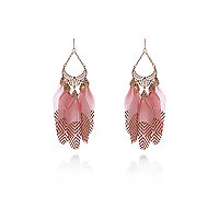 Pink printed feather drop earrings