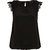 Black lace shoulder bubble hem top